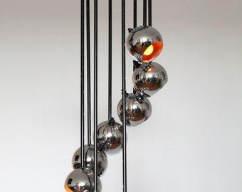 CASCADING 8 CHROME BALL chandelier / pendant vintage mid century American made 1970 era