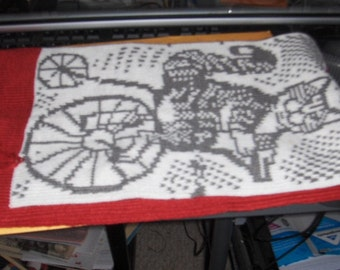 Cat on a bicycle scarf, in red, gray, and white, reversible, fringed