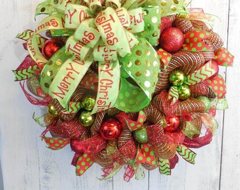 Mesh Christmas wreath, Deco Mesh, Merry Christmas, Wreaths for Christmas, Front door wreaths, Red and green, Large mesh wreath, Ornaments