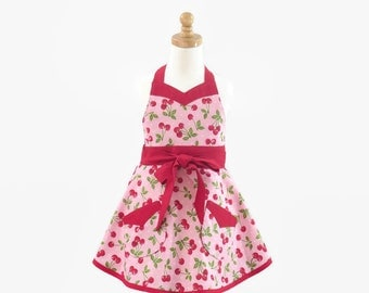 Girls Cherries Retro Apron,  Girls Pink Retro Apron, Girls Personalized Apron, Optional Chef Hat, Gift for Little Girl, Granddaughter Gift