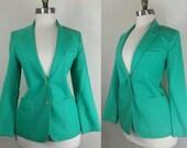 70s Teal Blazer Green Collegiate Jacket Small