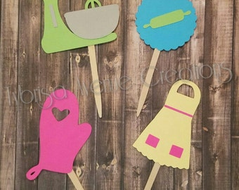 12 Kitchen Theme Cupcake Toppers - Kitchen Shower Decorations - KitchenAid Inspired Cupcake Toppers - Wedding Shower Cupcake Toppers