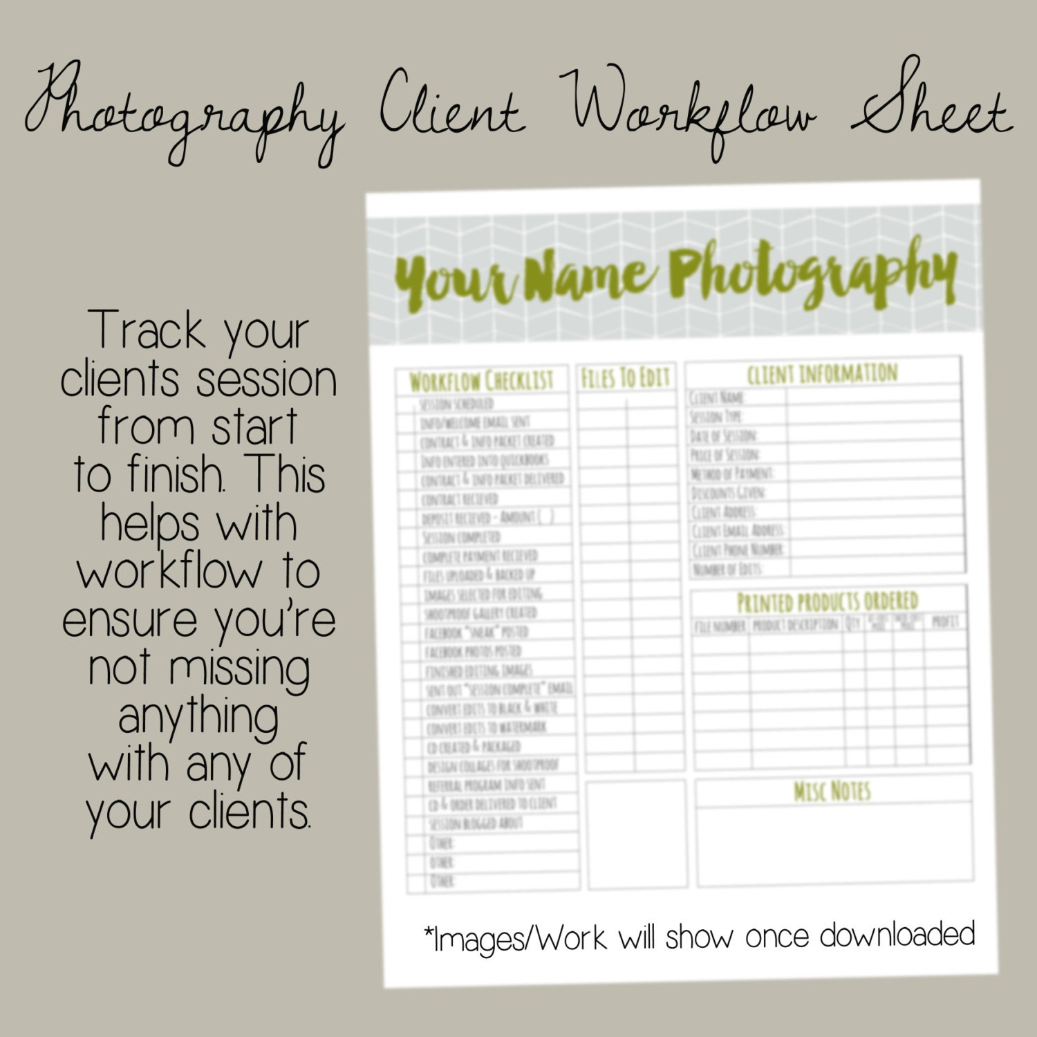 Photographer Client Workflow Sheet / Photography Organization ...