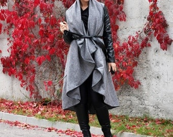 Grey Wool Coat, Fashion Coat, Long Sleeved Coat, Outfits for Autumn, Extravagant Top, Designer Jacket, Asymmetric Coat by CARAMELfs T12216