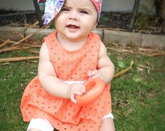Baby Head Wrap, Baby Headwrap, Floral Baby Headband, Baby Turban, Toddler HeadWrap, Girls Headwrap, Girls Turban, blue Baby Headwrap, 2244