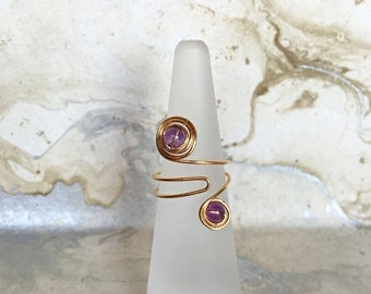 Gold Plated Wire Wrapped Ring with Amethyst Gemstone | Adjustable Rings | Statement Rings | Boho Rings | Womens Rings | Gold Rings