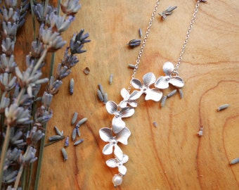SALE Personalized Initial Orchid Necklace in Silver - Orchid Flower and Pearl Necklace - Orchid Jewelry - Wedding and Bridal Jewelry