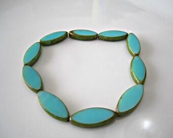 Turquoise Czech Glass Beads Blue Glass Beads Spindle Czech Glass Beads Oval Beads Blue Picasso Beads Blue 17x8mm (6pcs) 190V3