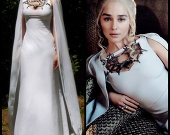 Game of Thrones Costume - Daenerys Meereen Dress - White Dragon Necklace Gown With Cape - Cosplay Costume - GOT Season Finale Sale