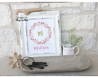 Floral wreath monogram, Custom monogram, wall art, personalized, girl, room decor, photo prop, digital, floral initial letter 8x10