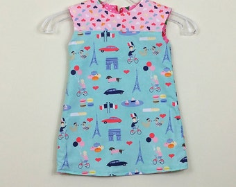 """Size 2 -  Fully reversible-  """"Alexandra Dress"""" - in Blue Paris and retro pink Cherries on reverse"""