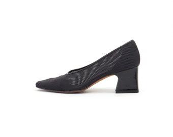 Vintage Shoe Via Spiga Shoe 90s Shoe Designer Shoe Mesh Shoe 90s Pumps Minimal Mid Heel Black Pump Minimalist Women Size US 6, EU 36.5, UK 4