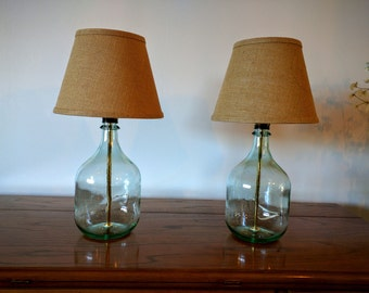 Table lamp, small table lamp, bedside lamp, bedroom lamp, set of 2 table lamps, glass bottle lamp, modern decor, natural decor, minimalist