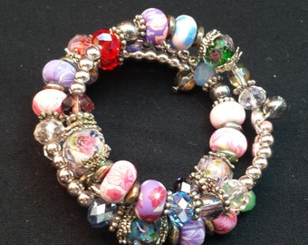 Colorful Memory Wire Coil Bracelet