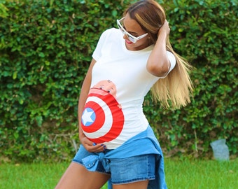 My Superhero Maternity New Captain America T-Shirt by Mamagama Pregnancy Store