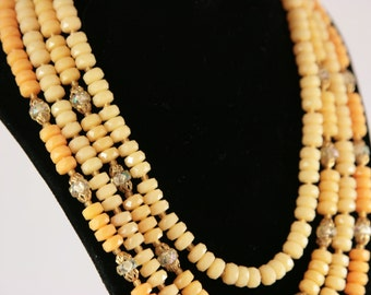 Yellow Candy Necklace Aurora Borealis Beaded Candy Like 4 Strand Necklace Marked Western Germany 1960s Beads Signed Vintage Necklaces