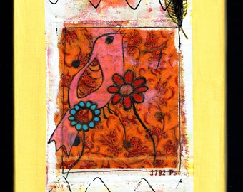 a may painting: drawing, collage and painting on paper on canvas (24x30cm/9,4x 11,8 inch), bird, yellow background, mixed media, singing,