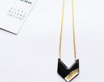 chevron necklace geometric necklace vinyl record black and gold necklace eco-friendly necklace edgy jewelry handmade necklace gift for her
