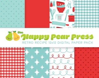 Retro Recipe Cooking Digital Paper Pack (Red) Instant Download - Patterned Backgrounds for Scrapbooking and Paper Crafts