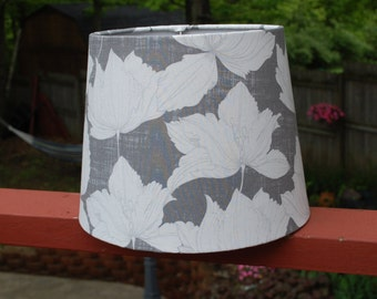 Custom Made Gray and White Floral Lamp Shade
