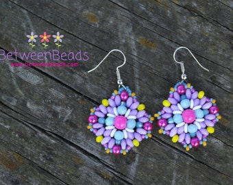 Pink Purple Earrings, Beadwoven Jewelry, Beads Crystals, Pastel Colors, Yellow Hot Pink, Fashion Jewelry, Girly Rosy OOAK Cotton candy