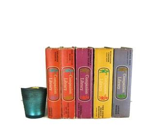 Orange Purple Vintage Books  , Old Vintage Books ,  Decorative Books  ,  Book Set , Photo Props , Book Lover Set , Home Decor