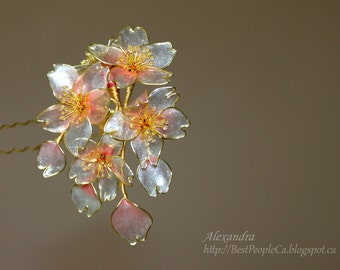 OOAK Japanese Kanzashi Hair Stick Wedding Accessories Cherry Blossom. White Transparent Sparkling Flowers Wire wrapped.