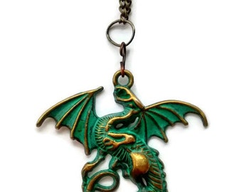 Medieval Dragon Pendant, Dragon Pendant Necklace, Medieval Pendant Necklace, Patina Pendant, Medieval Necklace