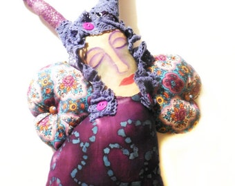 Handmade Purple Butterfly Cloth Folk Art Doll with Painted Muslin Face Whimsy Woman Art by Jeanne Fry