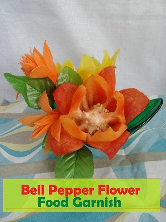 Bell Pepper Flower. Food Garnish Tutorial, instant PDF download