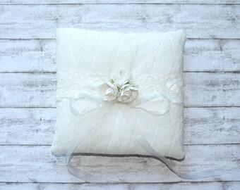 Ivory ring pillow Wedding ring pillow Ring Bearer