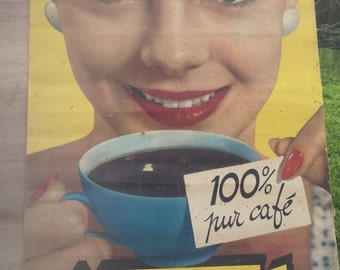 Original 1950's Nescafe poster. French Shabby Chic.