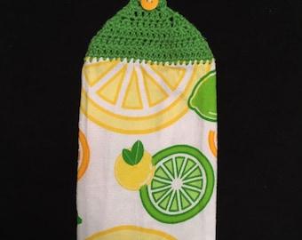 Crocheted Top Disht Towel--Citrus-Lemon, Lime and Orange
