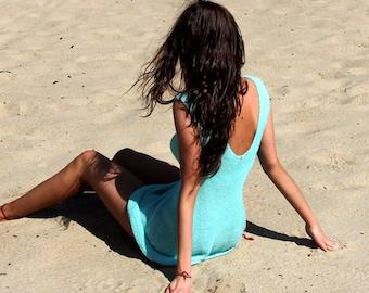 Turquoise Summer Dress. Beach Dress, Cotton Dress, Open Back Dress, Knit Summer Dress