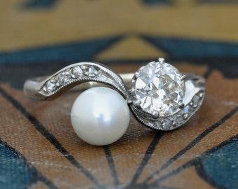 antique diamond pearl engagement ring unique engagement ring 1950s engagement ring - Pearl Wedding Rings