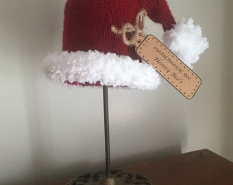 Knit Santa Stocking Hat for Baby, Toddler, or Child