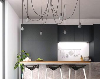 Cluster Black Chandelier Pendant Spider Swag Modern Light Chandelier Hanging Lamp Industrial Vintage Home Decor Edison Light Fixture