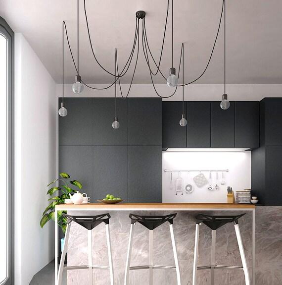Cluster Black Chandelier Pendant Spider Swag Modern Light