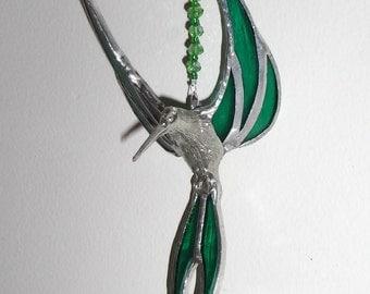 Hummingbird suncatcher handmade, beautiful Green stained glass suncatcher, Czech Fired beads