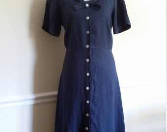 Nautical dress, M, L, linen dress, navy blue dress, blue linen dress, nautical linen dress, summer dress, sailor dress, linen maxi dress