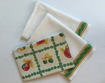 Vintage Cotton / Linen  Kitchen Towels, Tea Towels, Set of 3