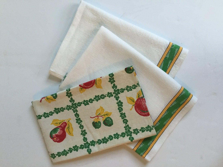 vintage cotton linen kitchen towels tea towels set of 3. Black Bedroom Furniture Sets. Home Design Ideas