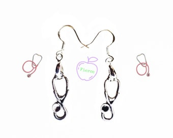 Stethoscope Earrings, 925 Sterling Silver Wires, Gifts for Nurses Doctors Physicians Assistant PA Pediatricians Medical Office Staff