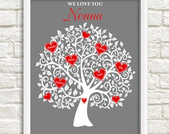 Nonna Family Tree, Mothers Day Gift for Nonna,Birthday Gift for Nonna, Personalized Nonna Gift, Heart Family tree for Nonna, Custom Wall Art