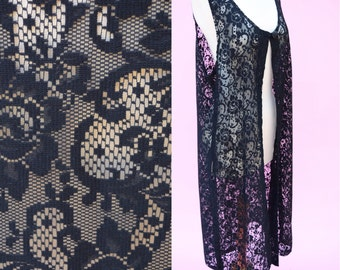 Vintage 70s, Black Lace, Boho Chic Vest // 1970s, Folk, Hippie Chic, Women's One Size Fits All