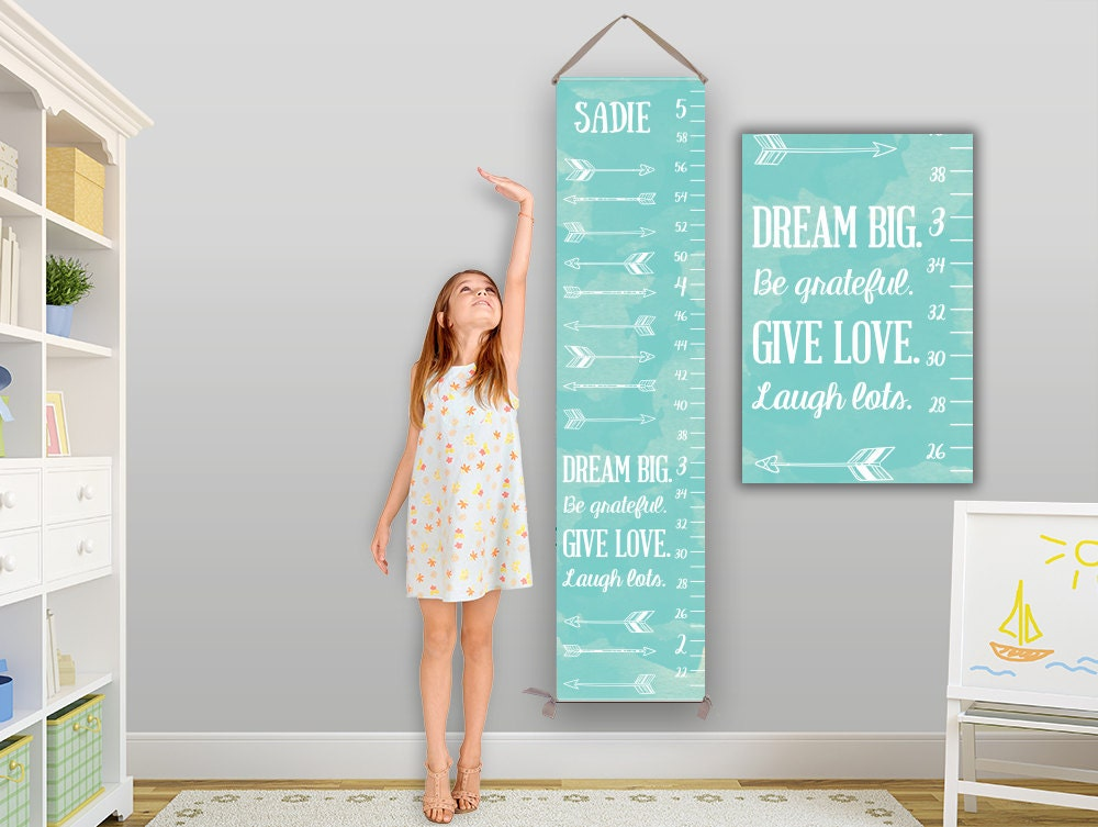 Arrow growth chart personalized canvas growth chart arrow for Nursery charts