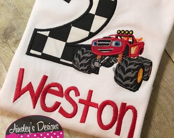 Red monster truck birthday shirt! All birthday numbers available!