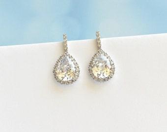 Wedding Earrings Cubic Zirconia Teardrop Earrings Bridal Crystal CZ Earrings Bridesmaid Earrings