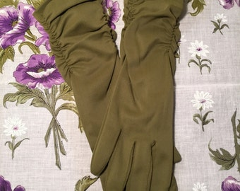Vintage Olive Green Gloves