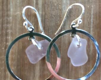 Sterling Silver Pale Lavender Sea Glass Earrings